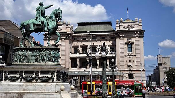 Beograd, centar, trolejbus, Trg Republike, Narodno pozorište, kod Konja