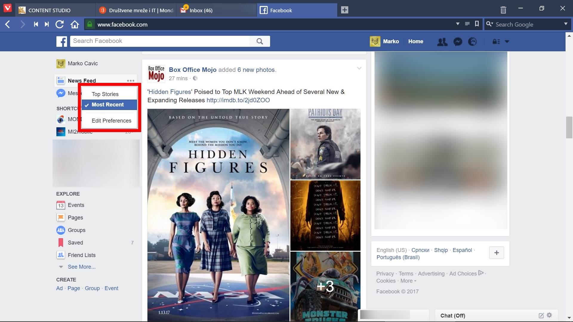 Facebook News Feed prikaz, FB, Face, Fejs