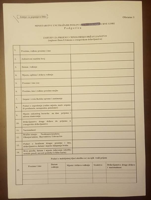 Kako do crnogorskog državljanstva