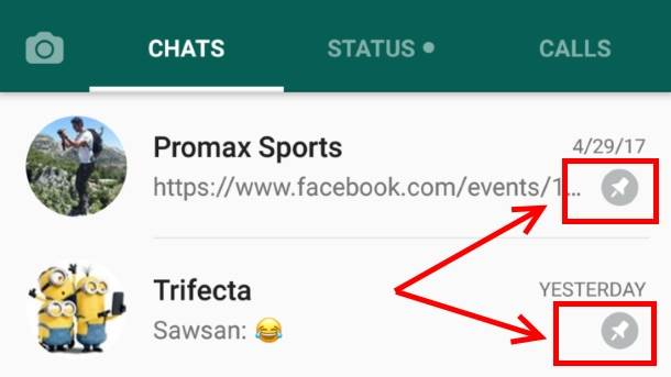 WhatsApp Pin chat