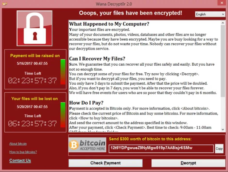 WCry, WannaCry, Wanna Decrypt, Ransomware