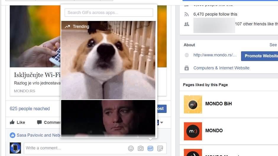 Facebook GIF komentari