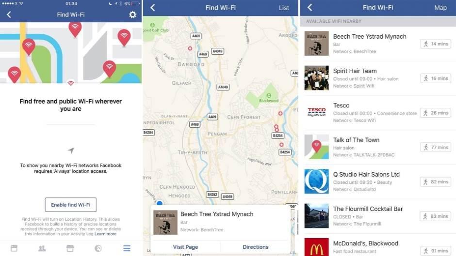 Wi-Fi Find, Fejsbuk, WiFi