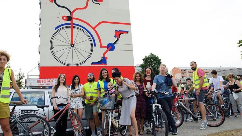 Biciklizam, biciklo, podgorica, stari aerodrom, biciklo.me, ljeto, mural, klupa, park, ureženje, akcija