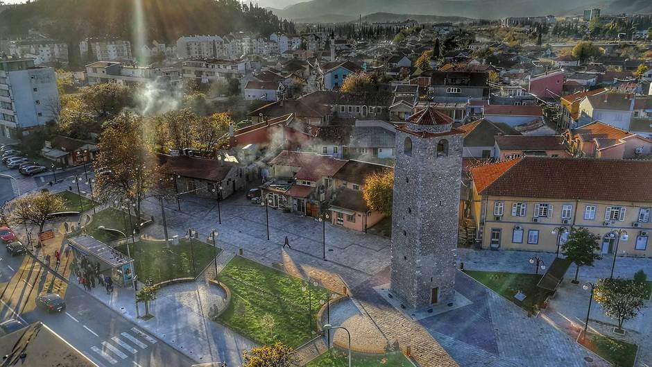Podgorica Sahat kula sat kula grad zima