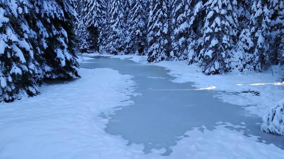 led, zima, planina, sneg, jezero, zaleđeno jezero