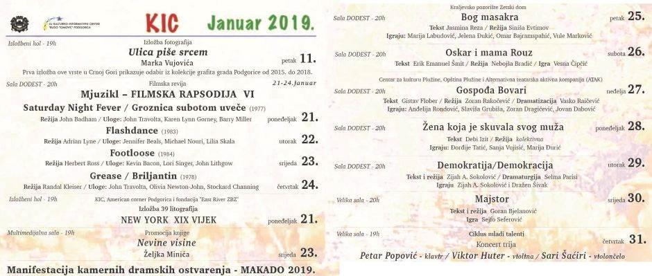 Repertoar KIC Budo Tomović za januar