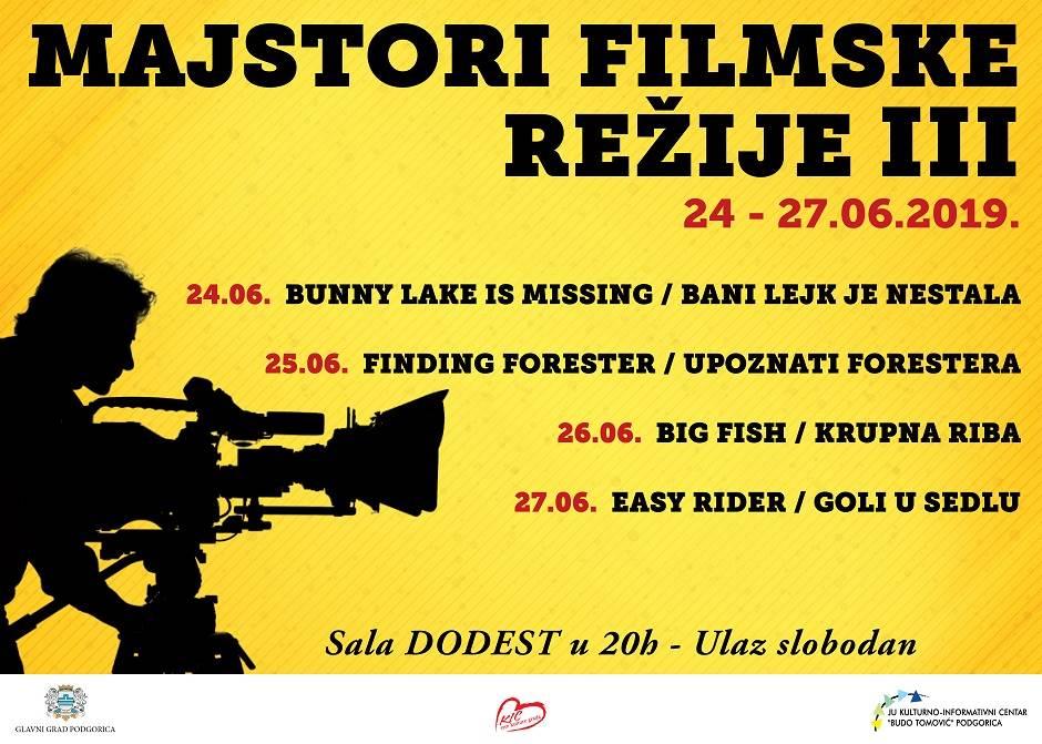 """""""Majstori filmske režije"""" od 24. do 27. juna u KIC-u"""