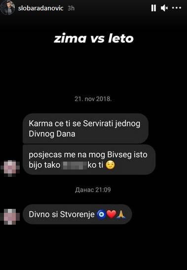 Sloba Radanović poruke sa Instagrama izvređala ga devojka