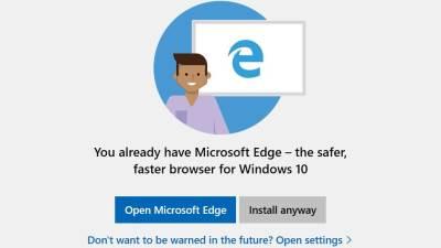 Chrome, Firefox upozorenje Microsoft Windows 10