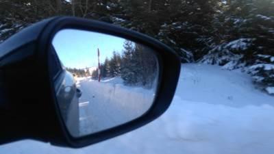 retrovizor, vožnja, put, drum, putevi, sneg