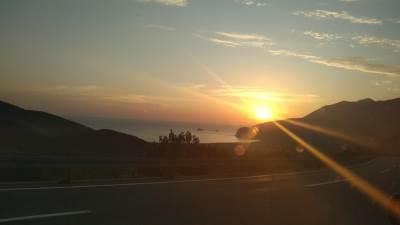 more, nebo, sunce, zalazak, noć, sumrak, odmor, put, autoput, vožnja