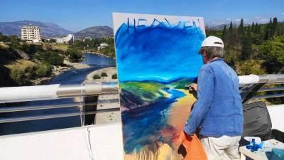 Roger Dale slikar umjetnik Milenijum performans boje četkice paleta most